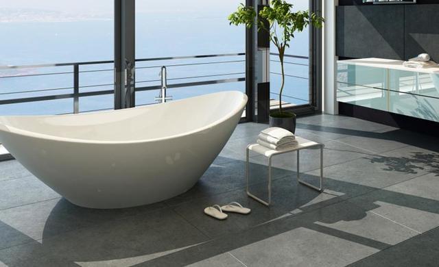 elegantes Bad mit betonoptik-Fliesen