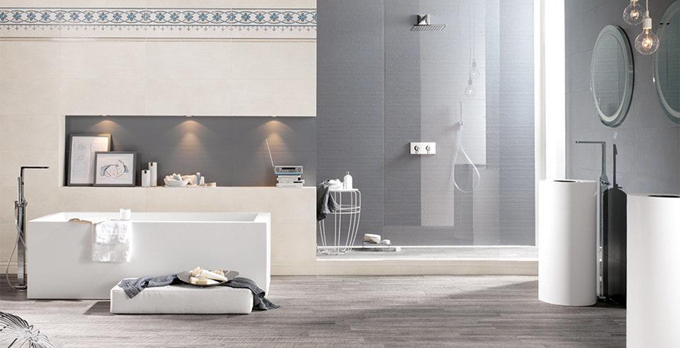 Fliese Caravate wirkt harmonisch im Badezimmer