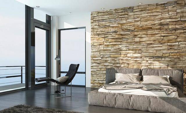 Mauerwerk aus Beton. Wandverkleidung für Kamin oder Wellness Bad. Verblender bei Fliesen-Kemmler.