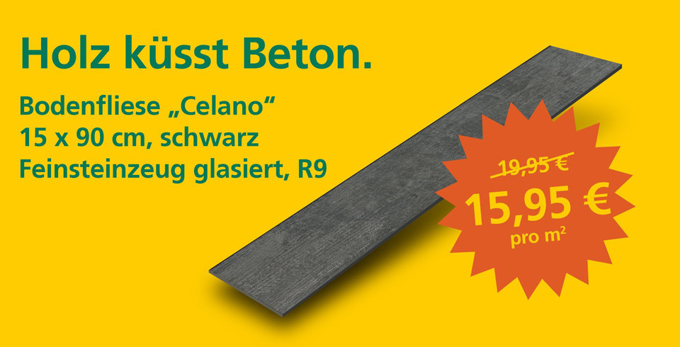 Fliese Holzoptik schwarz Celano