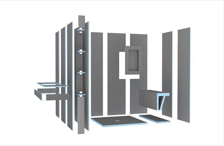 wedi Bauplatten, Nischen und Sitzbank im Bad als einzelne Elemente