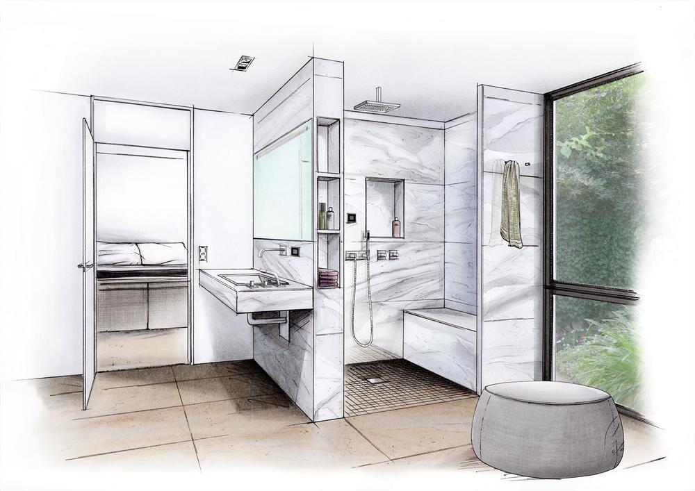 Badplanung mit Sitzbank und Nischen in Dusche mit wedi