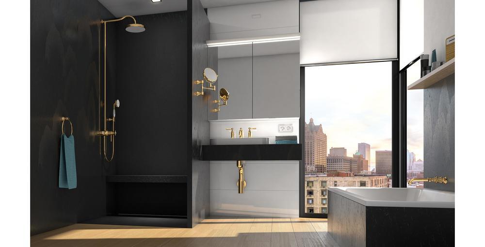 Das Bild zeigt die wedi Top Serie anthrazit-schwarz in Kombination mit Holzboden in einem Bad