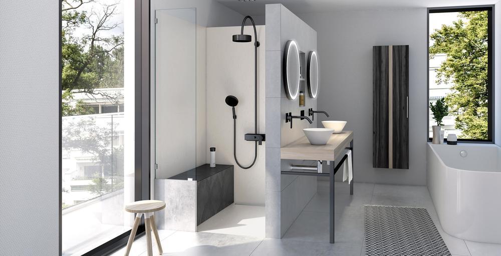 wedi Top Serie Dusche in Naturstein grau und schwarz in grauem Badezimmer