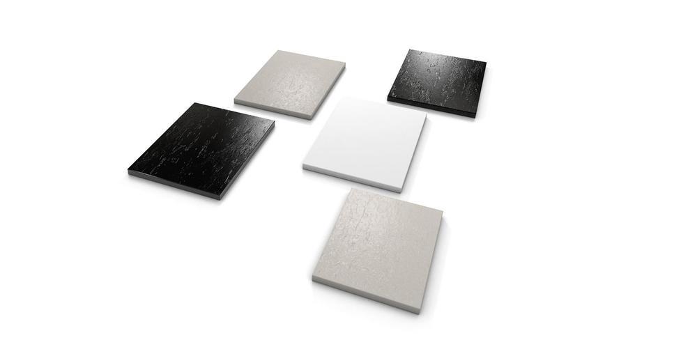 alle Oberflächen der wedi Top-Serie homogen weiß, Naturstein grau, Naturstein anthrazit-schwarz
