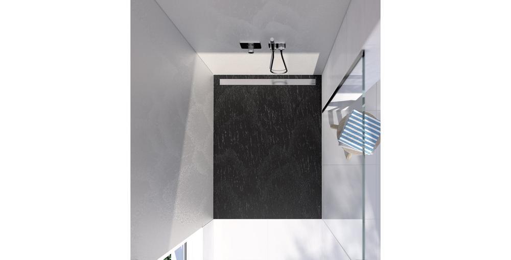Eine Dusche von oben mit der Top-Serie in Naturstein anthrazit-schwarz und grau